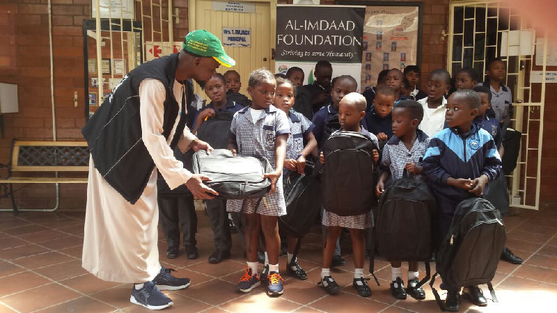 Each of the fifty learners received the school bags, stationery packs and lunch tins