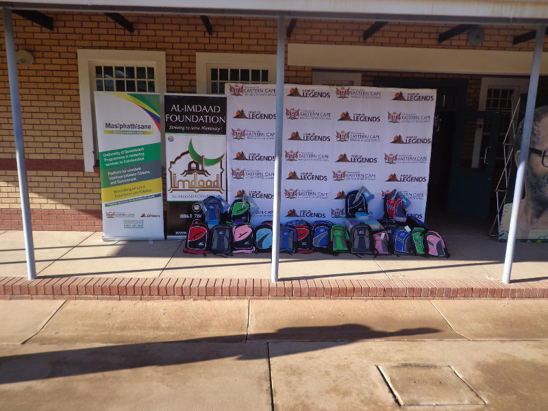 The Al-Imdaad Foundation team distributed 100 schoolbags, lunch tins and juice bottles to needy learners as part of the programme