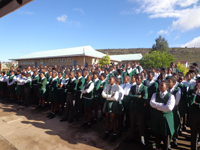 Learners at Zamokuhle assemble to listen to the address by the Premier and the Al-Imdaad Foundation representatives