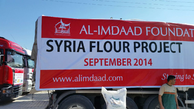 'I NEED YOU – SYRIA FLOUR' campaign. 40 fully laden trucks, carrying 1000 tons of flour are destined to bakeries which will provide fresh bread to impoverished Syrian families over the next few weeks