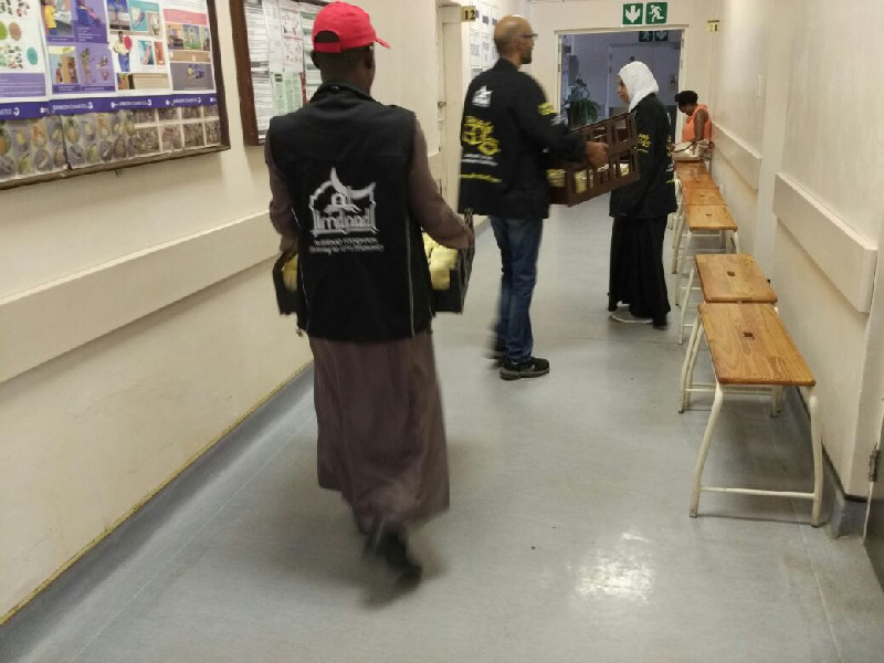 Al-Imdaad Foundation's Slice4Life teams on one of their daily sandwich distributions at Addington Hospital in Durban