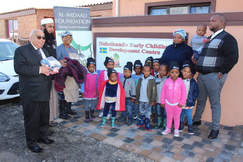 In the Western Cape teams handed over blankets, warm hats and other interventions at the Noluthando pre-school in Langa Township in Cape Town