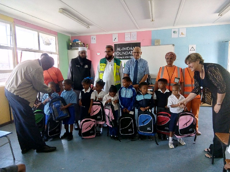School bags were distributed in at the Manenburg Primary school in the locality of the same name