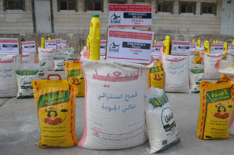 The distributions included staples of rice, wheat flour and sugar as well as cooking oil